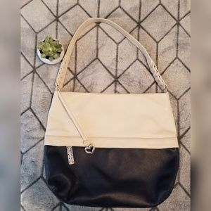 Brighton colorblock white and navy leather bag